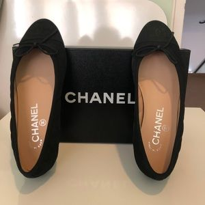 NWT Chanel Suede Quilted Ballet Flats